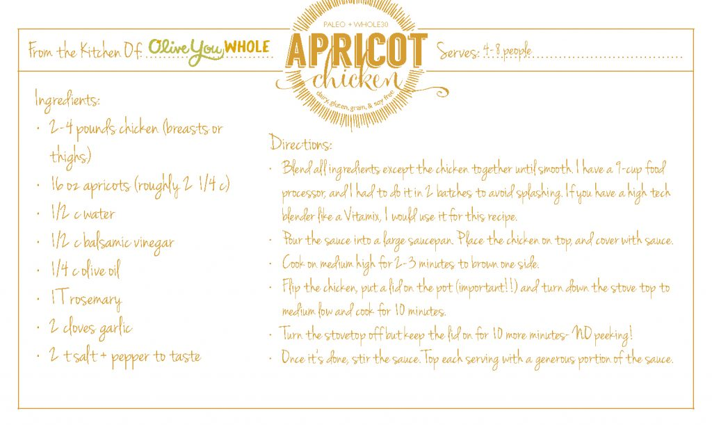 Apricot Chicken Recipe Cards2