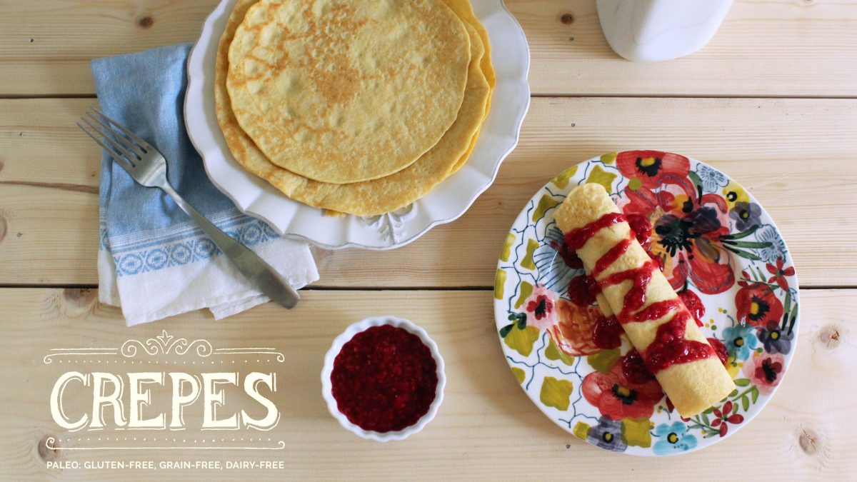 Paleo Crepes Recipe with Raspberry Compote #paleo #paleorecipes #paleobreakfast #oliveyouwhole