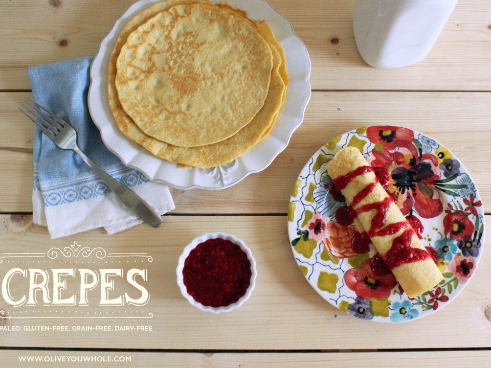 Paleo Crepes Recipe with Raspberry Compote #paleo #paleorecipes #paleobreakfast #oliveyouwhole