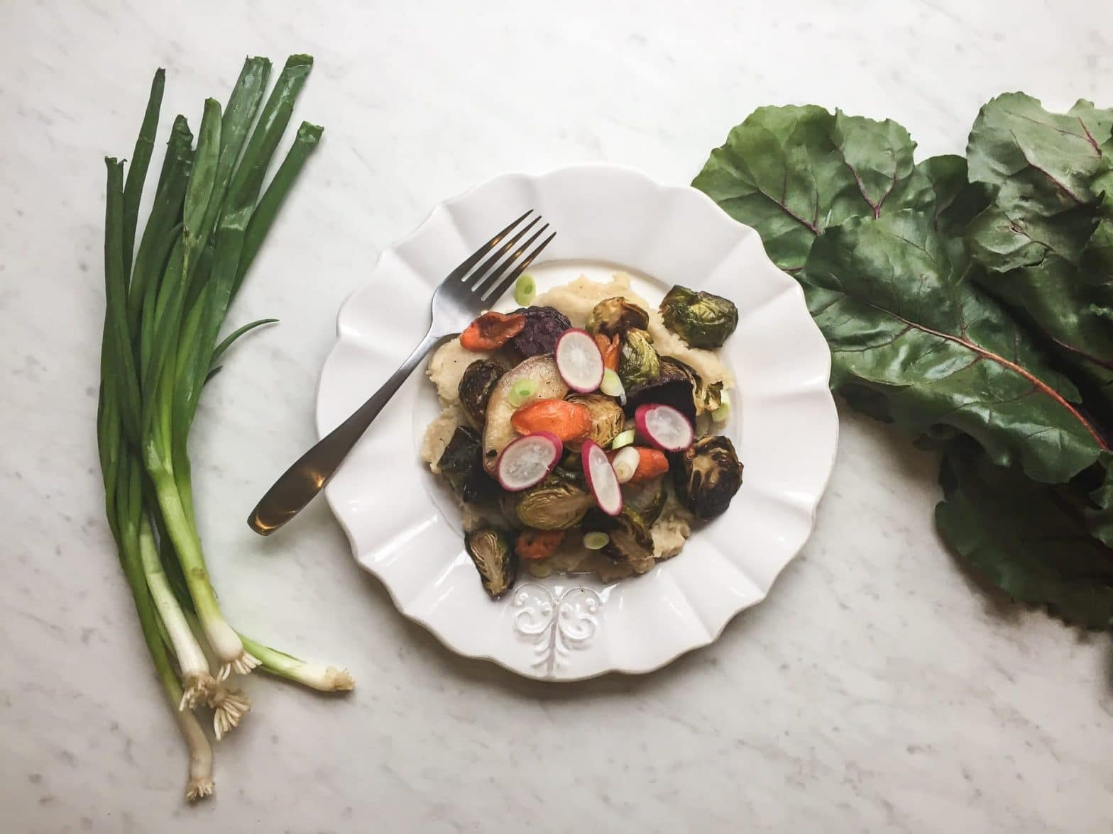 The Most Delicious Paleo Roasted Vegetables with a Caramelized Onion Purée Recipe
