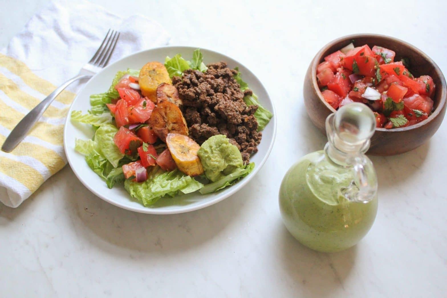 Paleo Taco Salad Recipe with Green Goddess Dressing