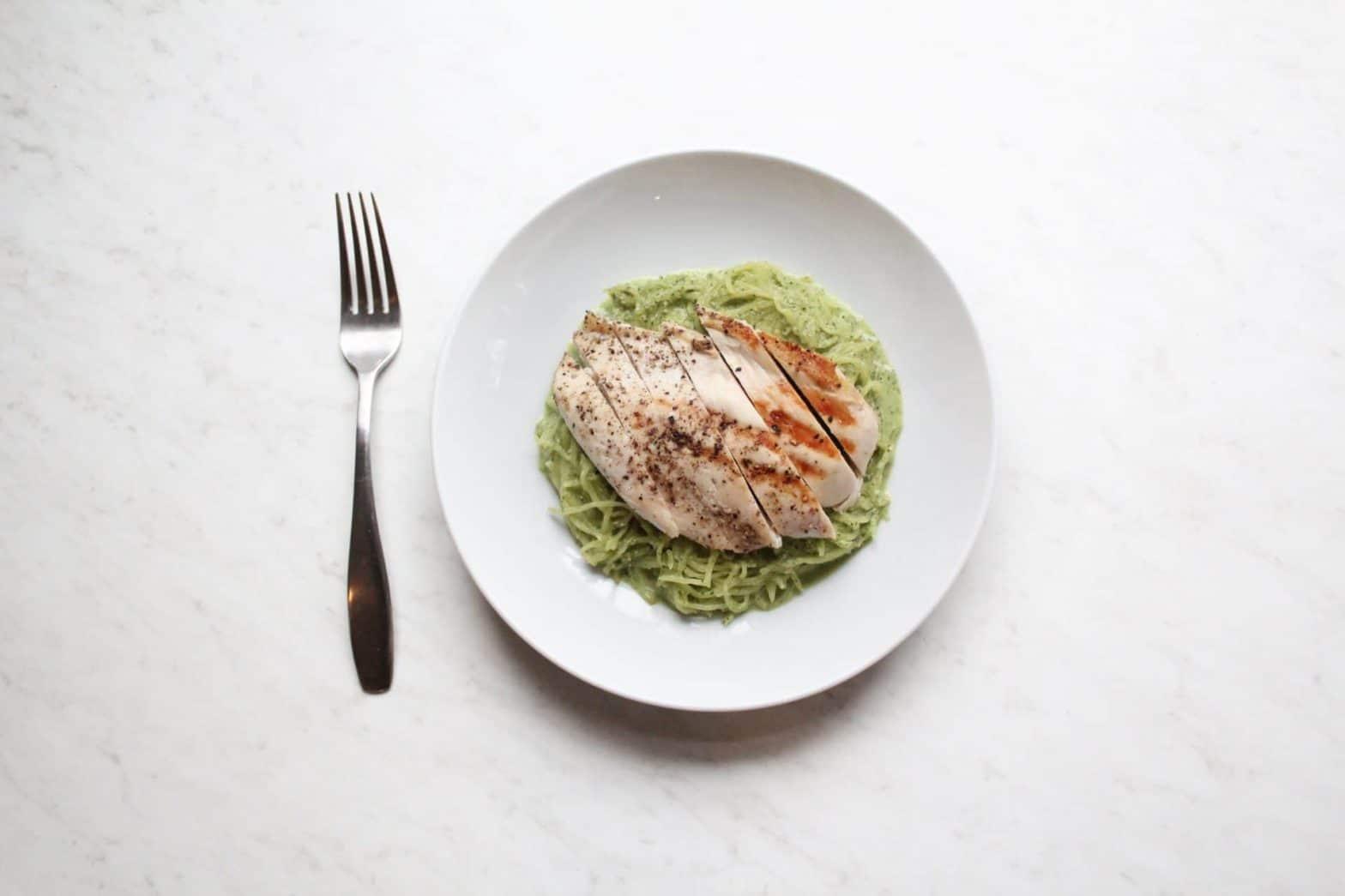 """Whole30 + Paleo Creamy Pesto Chicken """"Alfredo"""" Recipe"""