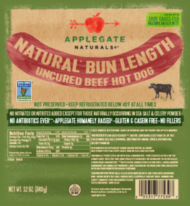 Whole30 Approved Hot Dogs Applegate Naturals Bun Length Beef