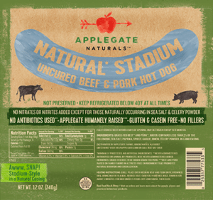 Whole30 Approved Hot Dogs Applegate Naturals Stadium Beef and Pork Hot Dog
