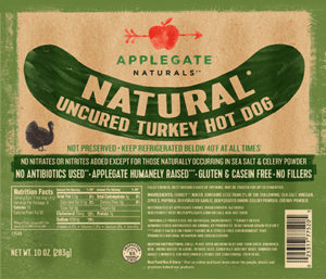 Whole30 Approved Hot Dogs Applegate Naturals Turkey