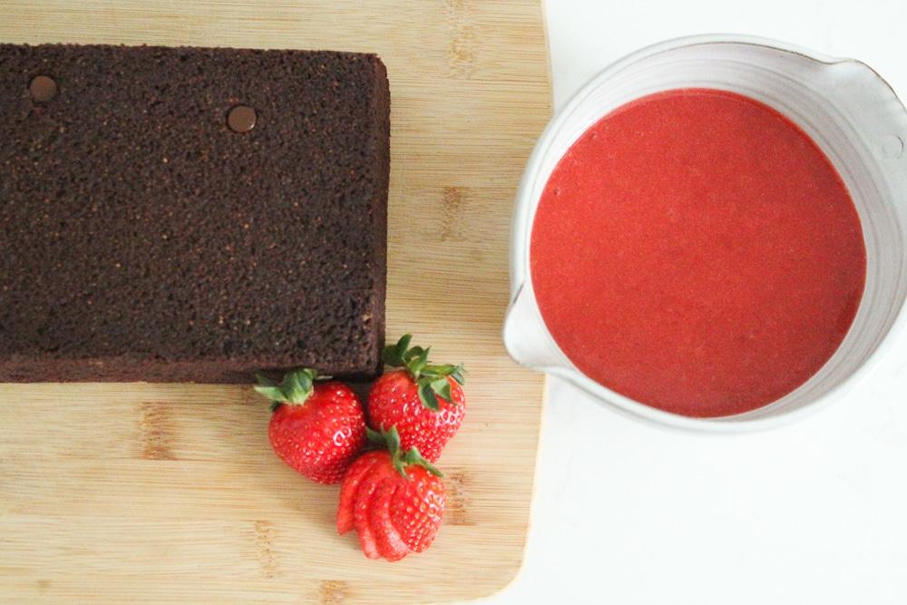 Chocolate Yogurt Cake Recipe with Strawberry Coulis (Gluten Free + Dairy Free)