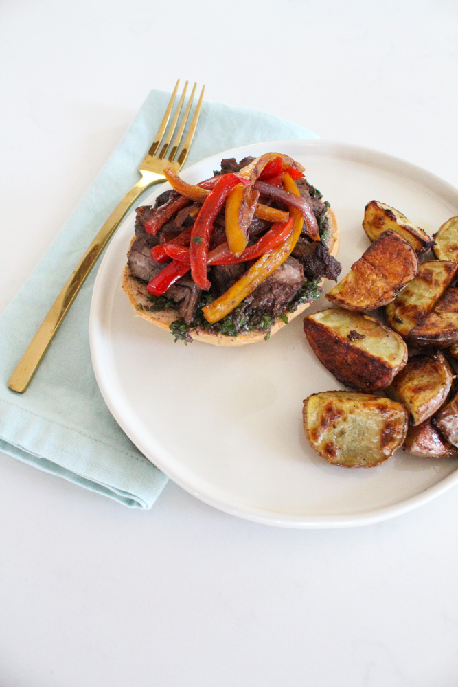 Grilled Flank Steak with Grilled Peppers-2