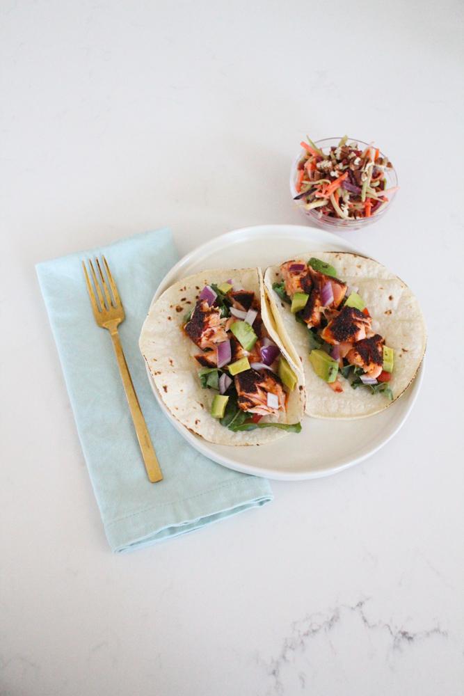Blackened Salmon Tacos with Slaw Recipe Whole30 Paleo-3