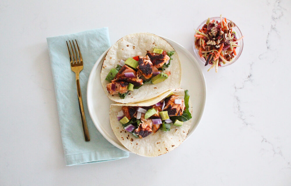 Blackened Salmon Tacos with Slaw Recipe